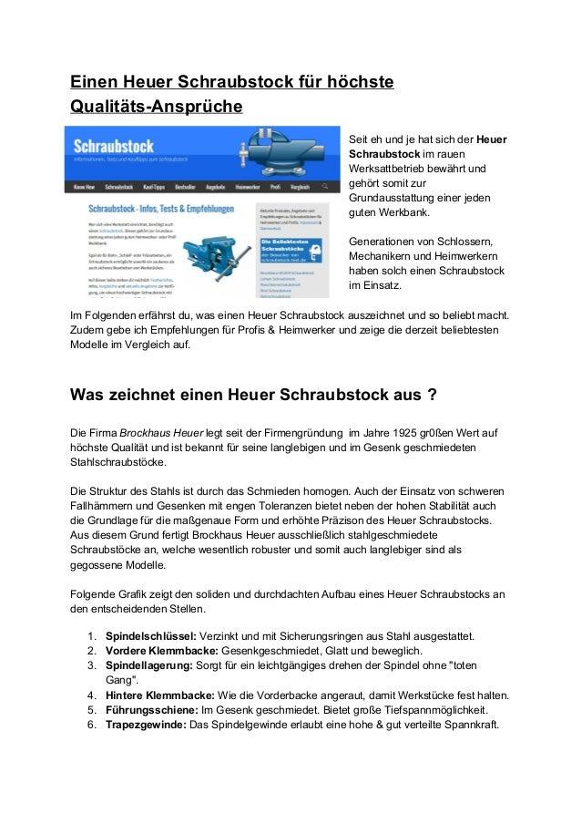 EinenHeuerSchraubstockfürhöchste QualitätsAnsprüche  SeitehundjehatsichderHeuer Schraubstockimrauen W...