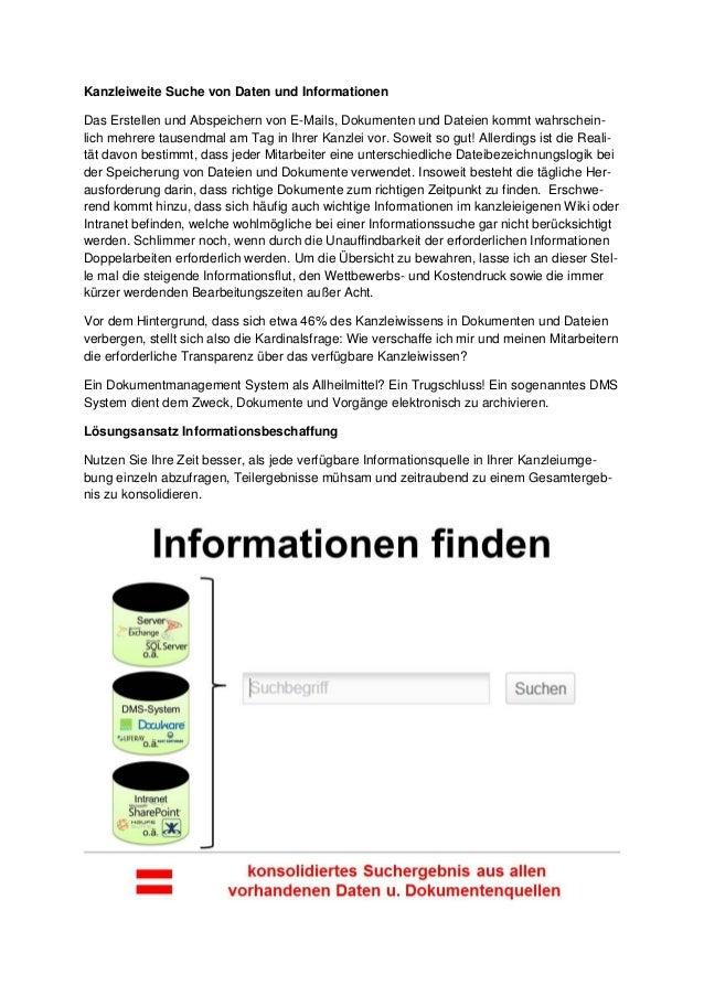 Kanzleiweite Suche von Daten und Informationen Das Erstellen und Abspeichern von E-Mails, Dokumenten und Dateien kommt wah...