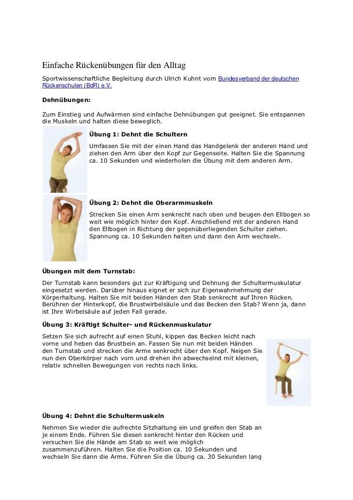 Einfache Rückenübungen für den AlltagSportwissenschaftliche Begleitung durch Ulrich Kuhnt vom Bundesverband der deutschenR...