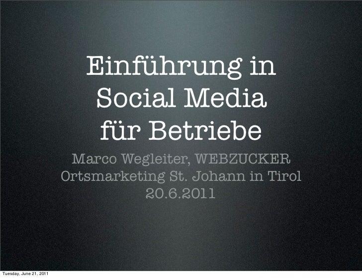 Einführung in                             Social Media                             für Betriebe                          M...