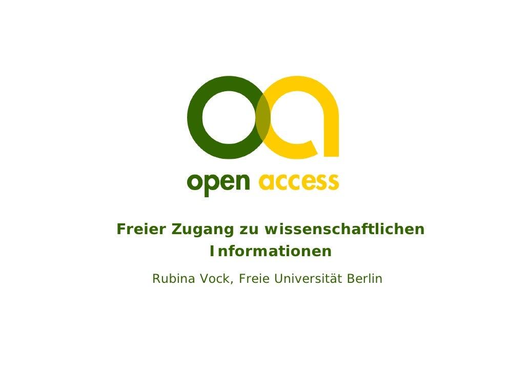Freier Zugang zu wissenschaftlichen            Informationen