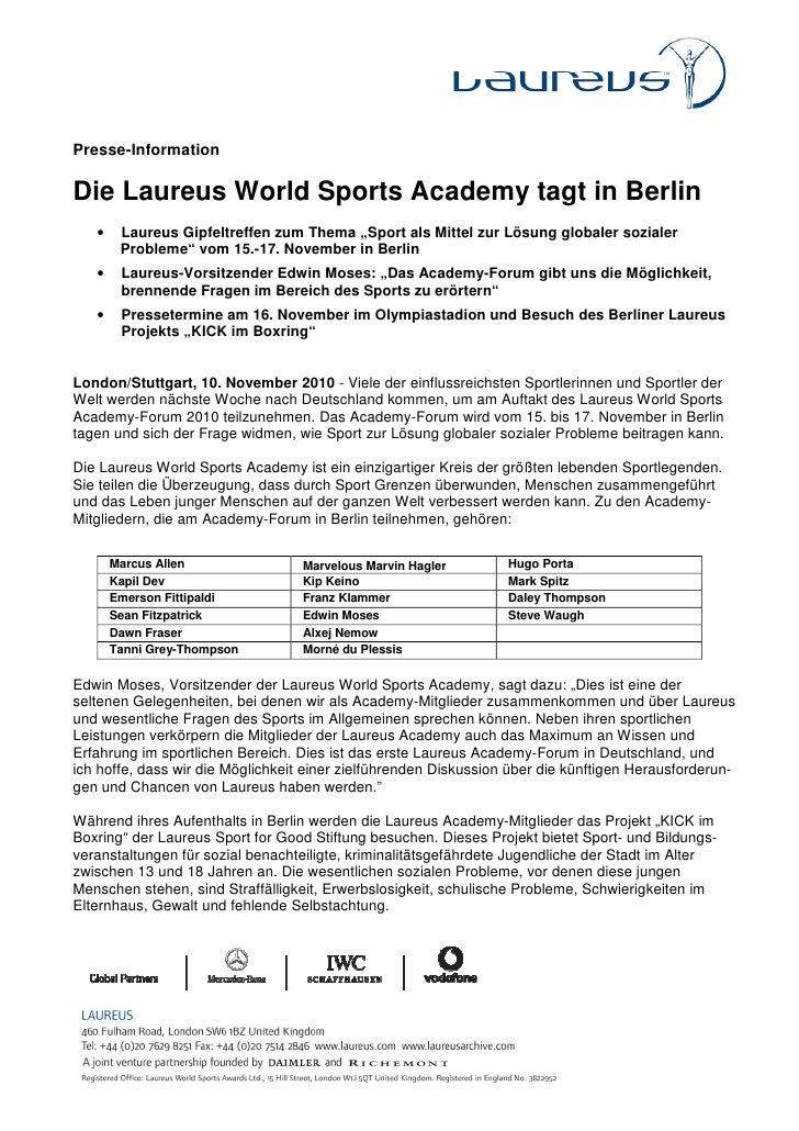 """Presse-InformationDie Laureus World Sports Academy tagt in Berlin   •    Laureus Gipfeltreffen zum Thema """"Sport als Mittel..."""