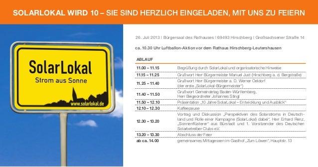 26. Juli 2013 | Bürgersaal des Rathauses | 69493 Hirschberg | Großsachsener Straße 14 ABLAUF 11.00 – 11.15 Begrüßung durch...