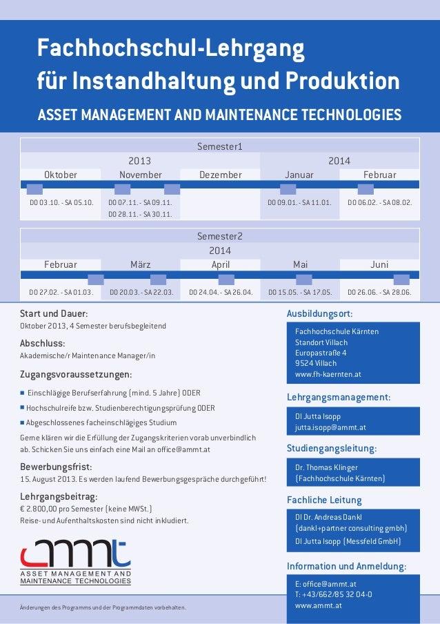 Fachhochschul-Lehrgang     für Instandhaltung und Produktion      ASSET MANAGEMENT AND MAINTENANCE TECHNOLOGIES           ...
