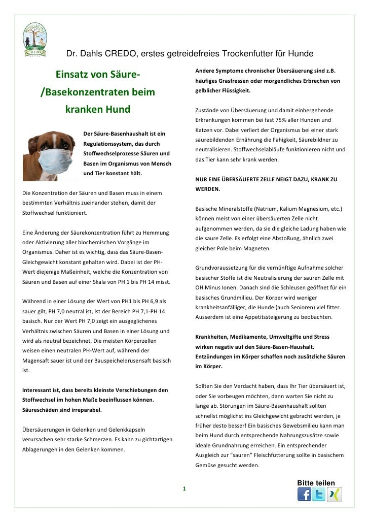 Dr. Dahls CREDO, erstes getreidefreies Trockenfutter für Hunde                                                            ...