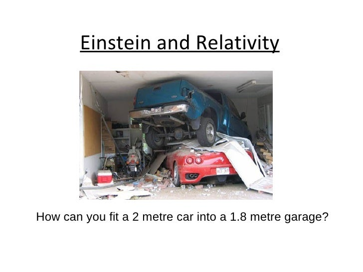 Einstein and Relativity How can you fit a 2 metre car into a 1.8 metre garage?
