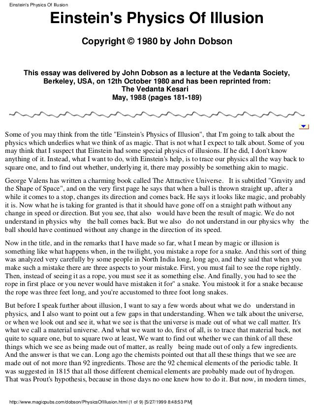Einstein's physics of illusion