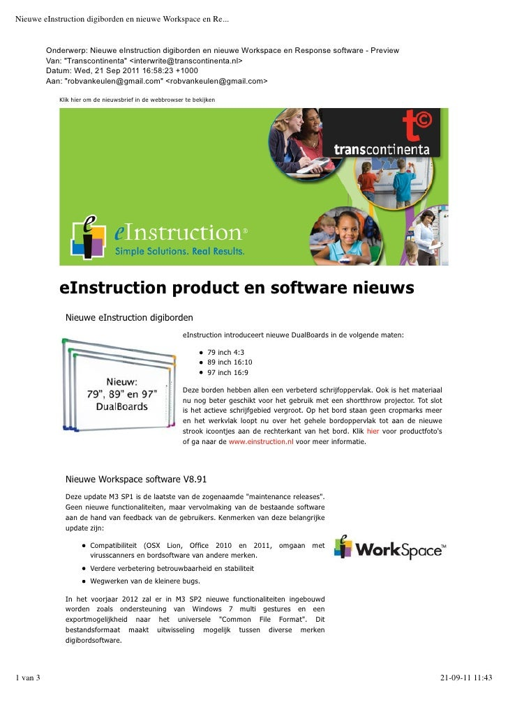 Nieuwe einstruction workspace en response software en nieuwe digiborden q4 2011