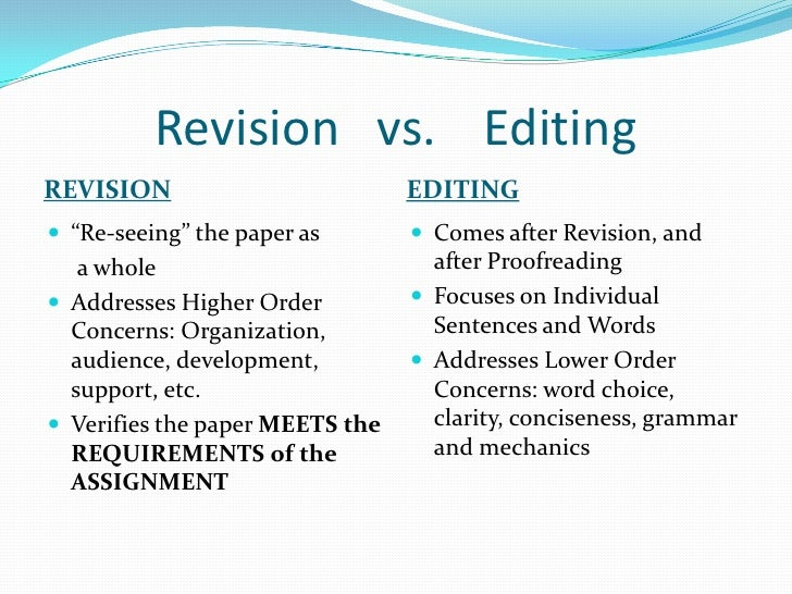 revising vs editing essay