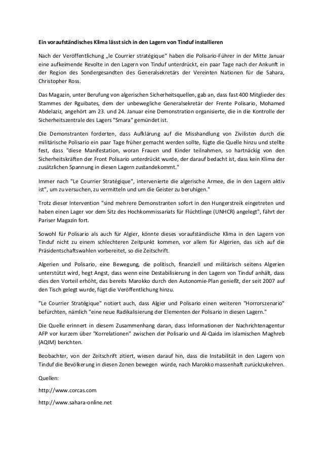 """Ein voraufständisches Klima lässt sich in den Lagern von Tinduf installieren Nach der Veröffentlichung """"le Courrier straté..."""