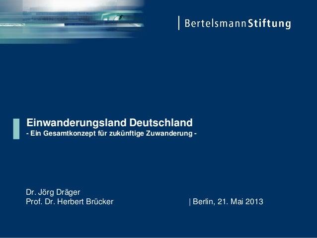 Einwanderungsland Deutschland- Ein Gesamtkonzept für zukünftige Zuwanderung -Dr. Jörg DrägerProf. Dr. Herbert Brücker   Be...