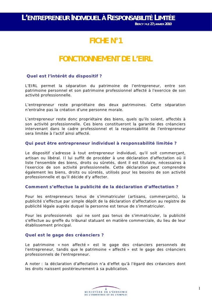 L'ENTREPRENEUR INDIVIDUEL À RESPONSABILITÉ LIMITÉE                                                          BERCY > LE 27 ...