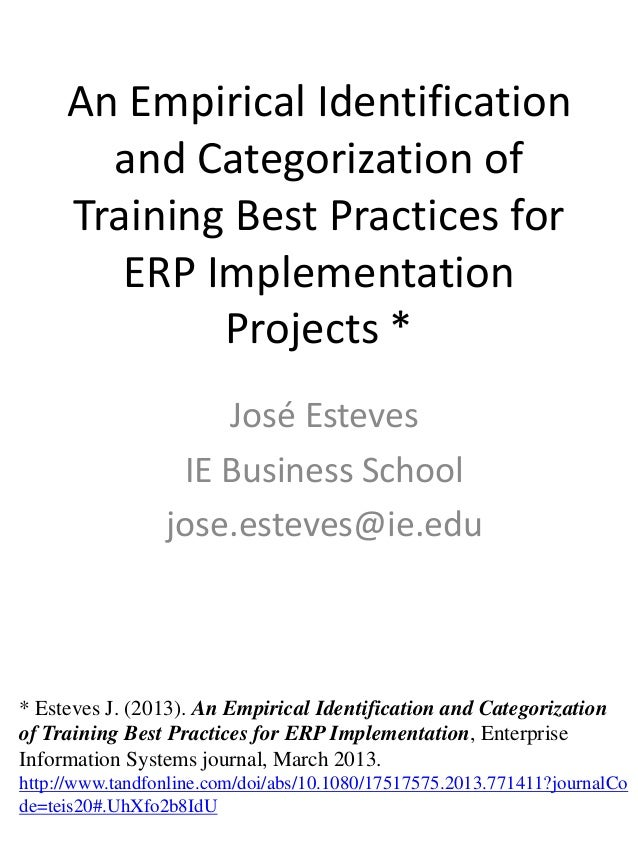 An Empirical Identification and Categorization of Training Best Practices for ERP Implementation Projects