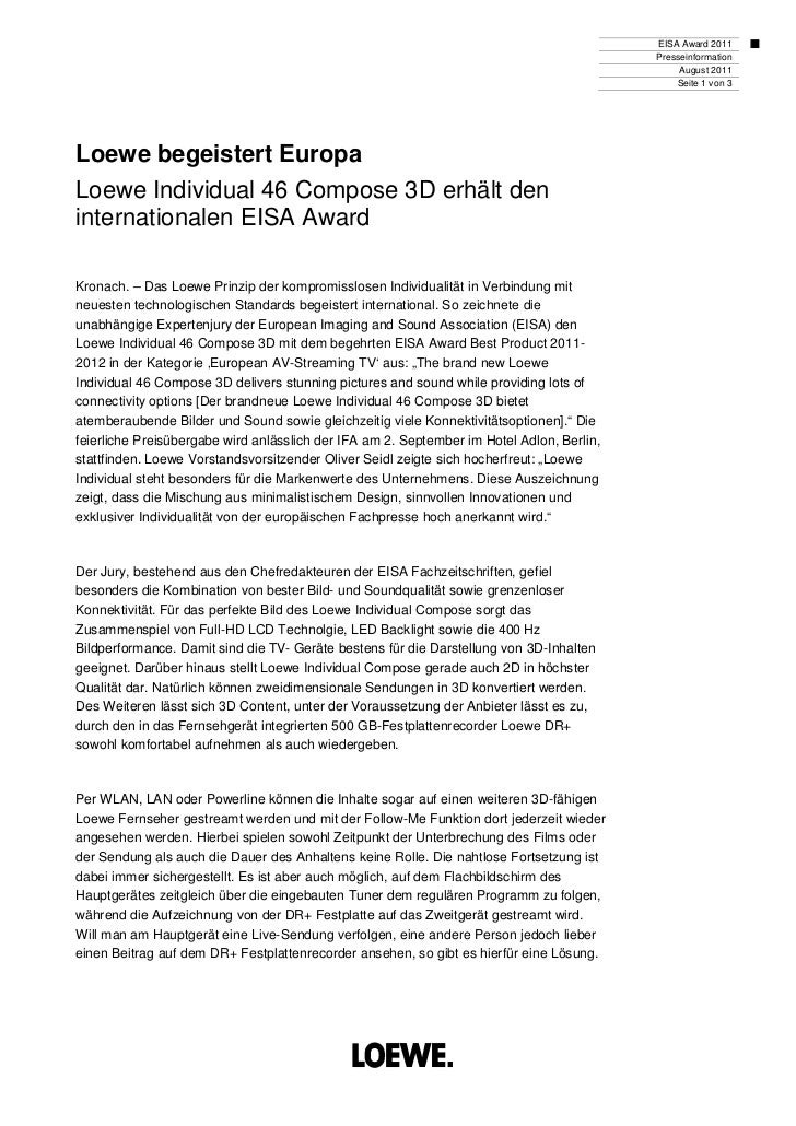 EISA Award 2011                                                                                           Presseinformatio...