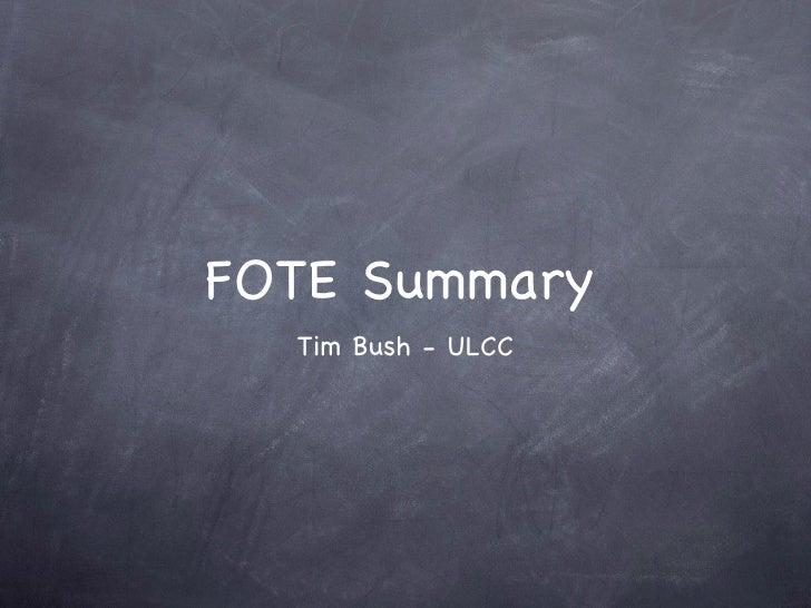 CDE FOTE Summary