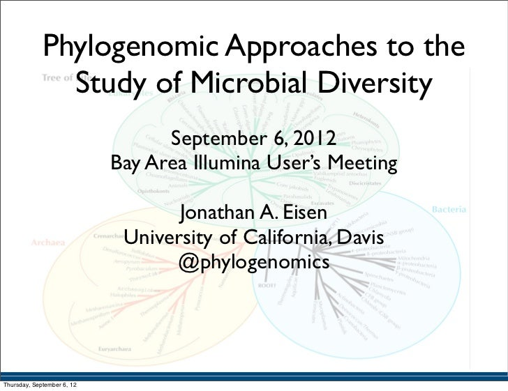 """Phylogenomic approaches to microbial diversity"" Talk by Jonathan Eisen at #IlluminaBayArea meeting"