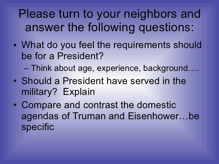 Please turn to your neighbors and answer the following questions: <ul><li>What do you feel the requirements should be for ...