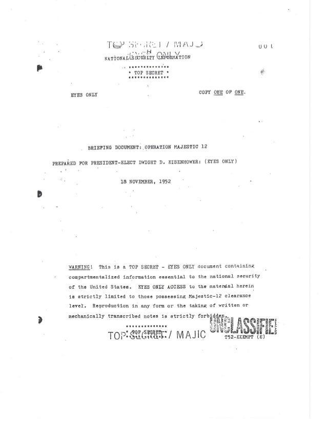 Eisenhower MJ-12 Briefing, 1952.