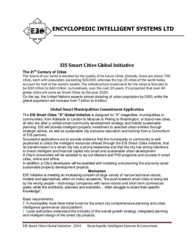 EIS Smart Cities Global Initiative 2014 Encyclopedic Intelligent Systems & Consortium ENCYCLOPEDIC INTELLIGENT SYSTEMS LTD...