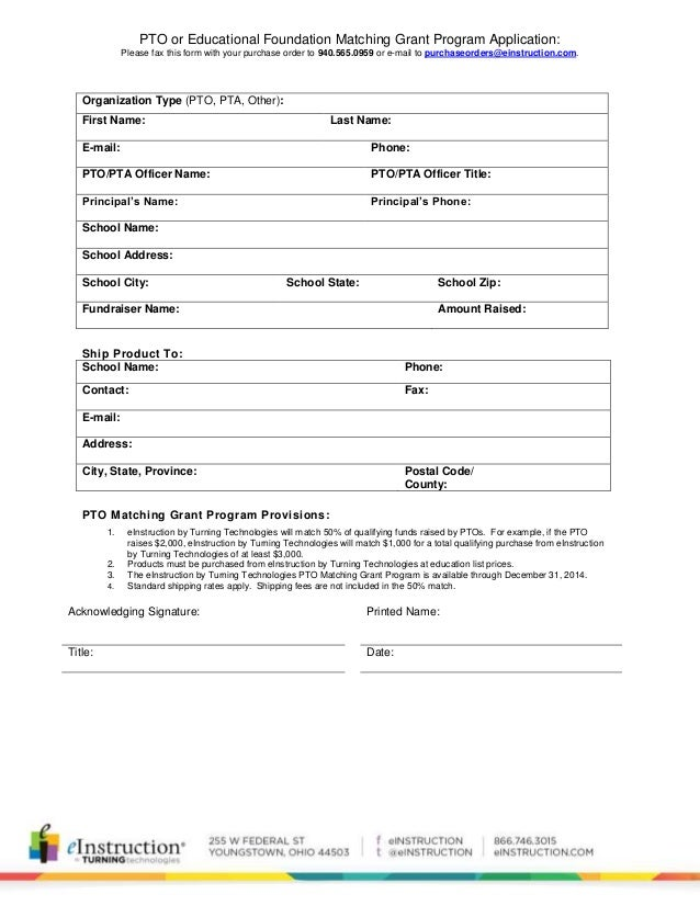 PTO or Educational Foundation Matching Grant Program Application: Please fax this form with your purchase order to 940.565...