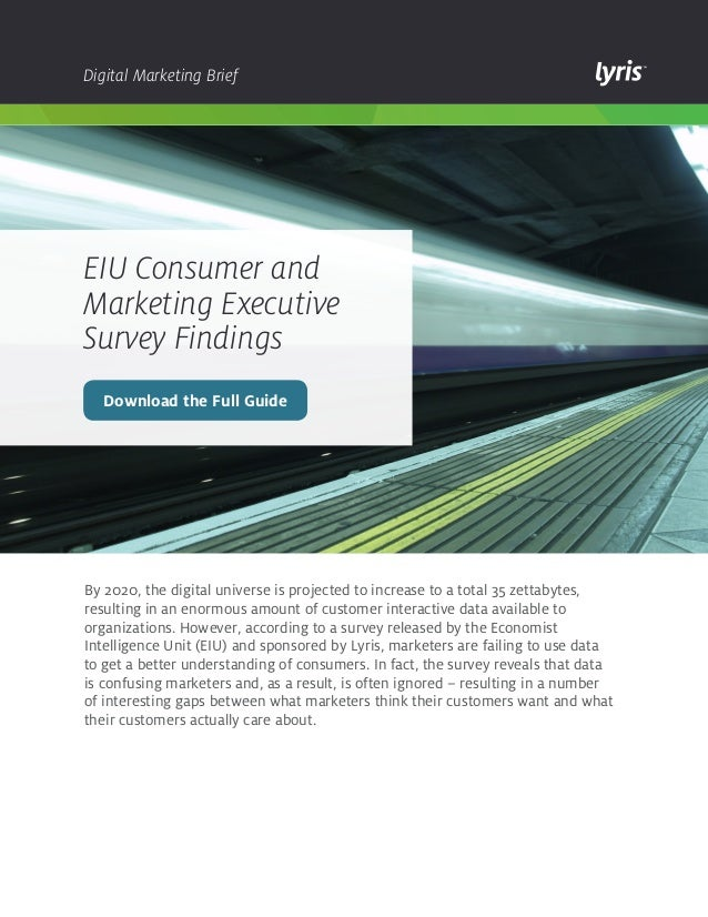 EIU Consumer and Marketing Executive Survey Findings - Lyris