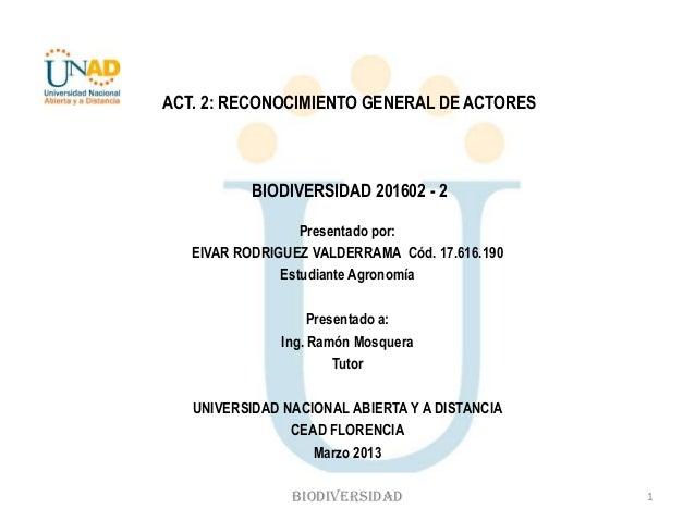 ACT. 2: RECONOCIMIENTO GENERAL DE ACTORES           BIODIVERSIDAD 201602 - 2                  Presentado por:   EIVAR RODR...