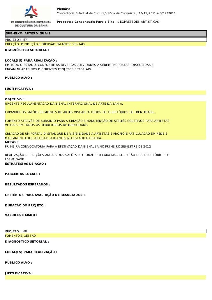Plenária:                             Conferência Estadual de Cultura,Vitória da Conquista , 30/11/2011 a 3/12/2011       ...