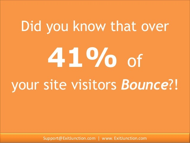 Did you know that over                    41%                                  of    your site visitors Bounce?!Contact: S...