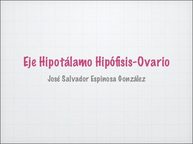 Eje Hipotálamo Hipófisis-Ovario José Salvador Espinosa González