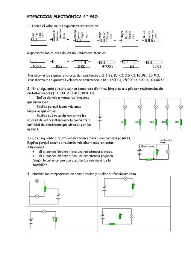 EJERCICIOS ELECTRÓNICA 4º ESO 1.- Indica el valor de las siguientes resistencias: Representa los colores de las siguientes...