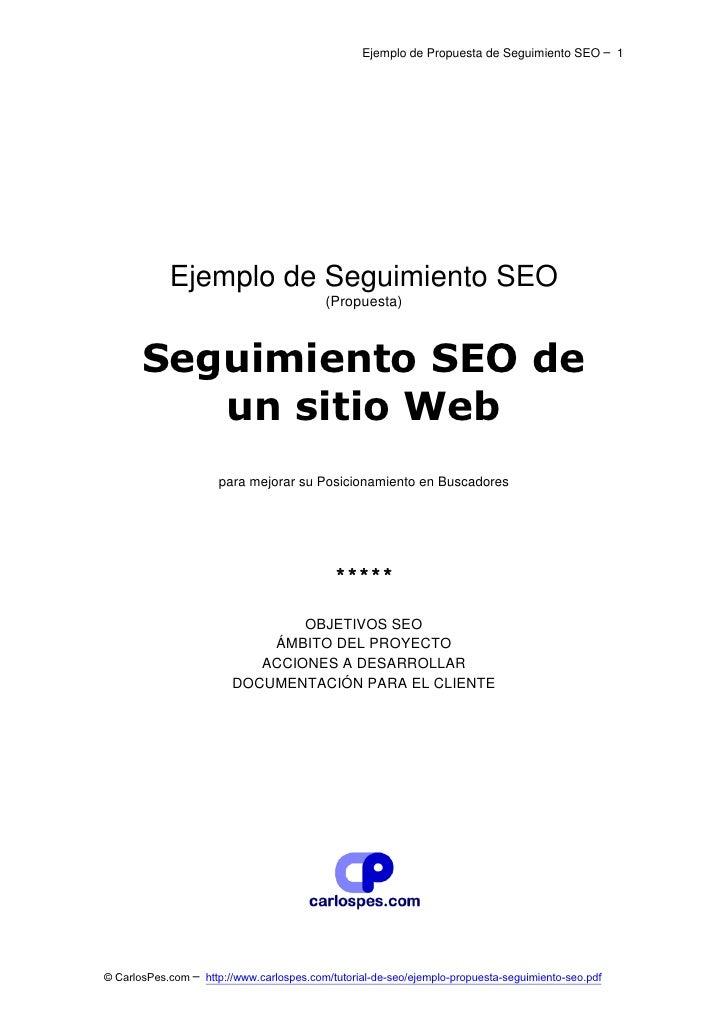 Ejemplo de Propuesta de Seguimiento SEO ─ 1            Ejemplo de Seguimiento SEO                                         ...