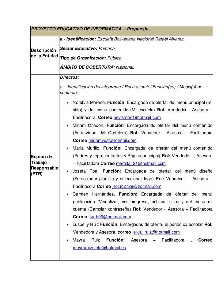 PROYECTO EDUCATIVO DE INFORMÁTICA - Propuesta -              a.- Identificación: Escuela Bolivariana Nacional Rafael Álvar...