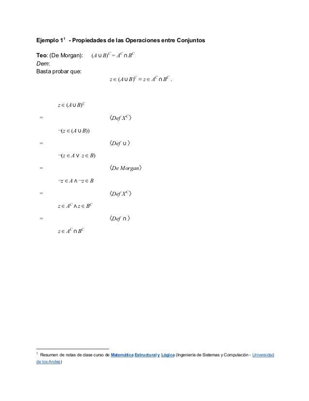 Ejemplo11 PropiedadesdelasOperacionesentreConjuntosTeo:(DeMorgan):              (A ⋃ B)C = AC ⋂ BCDem:Bastapr...