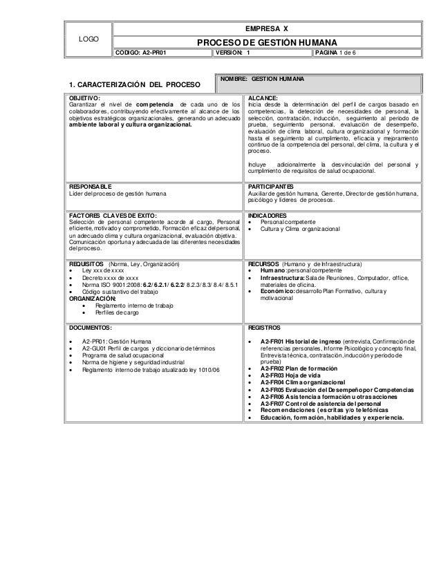 LOGO EMPRESA X PROCESO DE GESTIÓN HUMANA CÓDIGO: A2-PR01 VERSIÓN: 1 PÁGINA 1 de 6 1. CARACTERIZACIÓN DEL PROCESO NOMBRE: G...