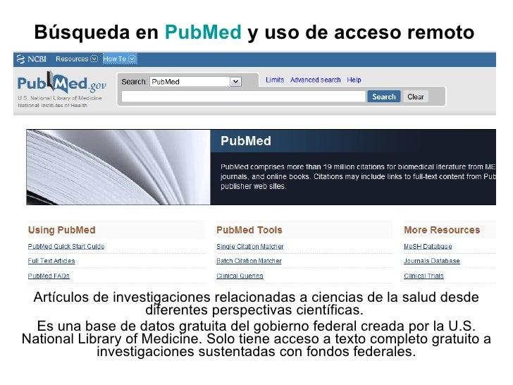 Ejemplo de búsqueda en PubMed con uso de acceso remoto