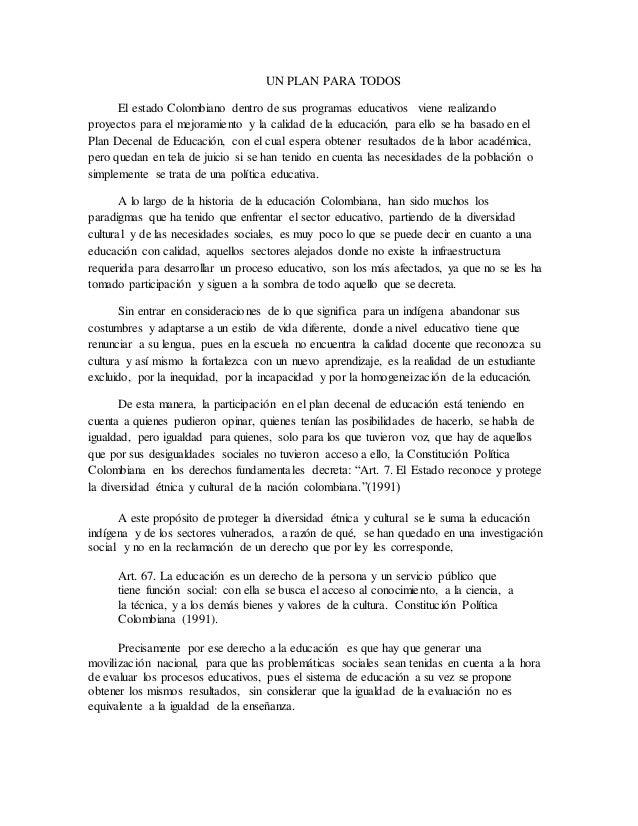 un plan para todos el estado colombiano dentro de sus