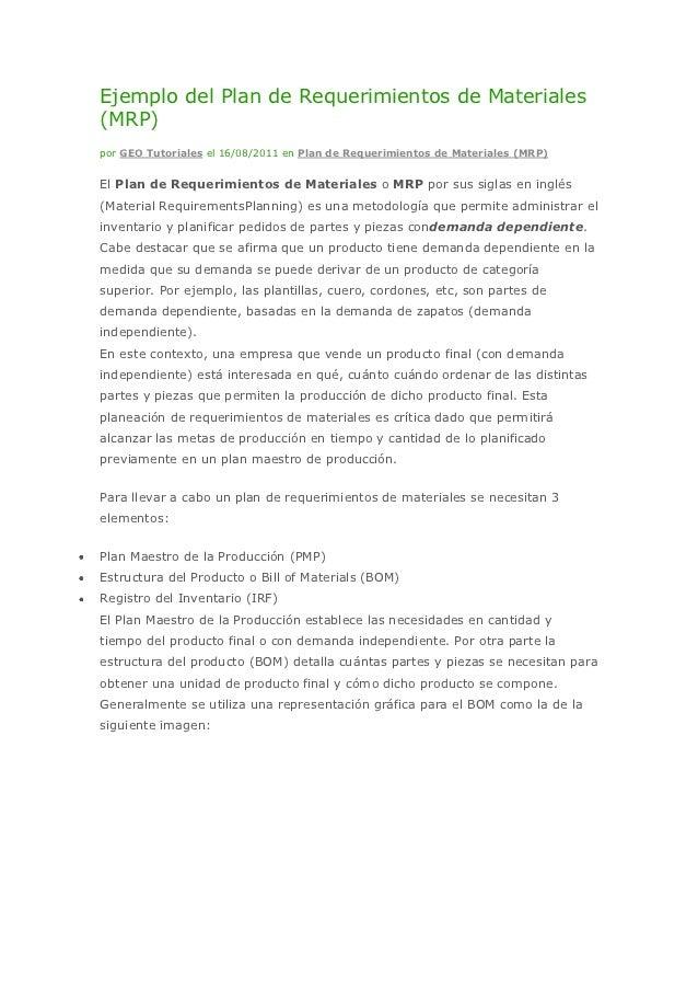 Ejemplo del plan de requerimientos de materiales