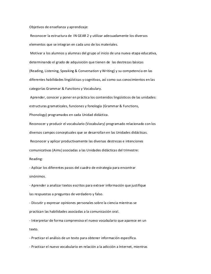 Objetivos de enseñanza y aprendizaje:Reconocer la estructura de IN GEAR 2 y utilizar adecuadamente los diversoselementos q...