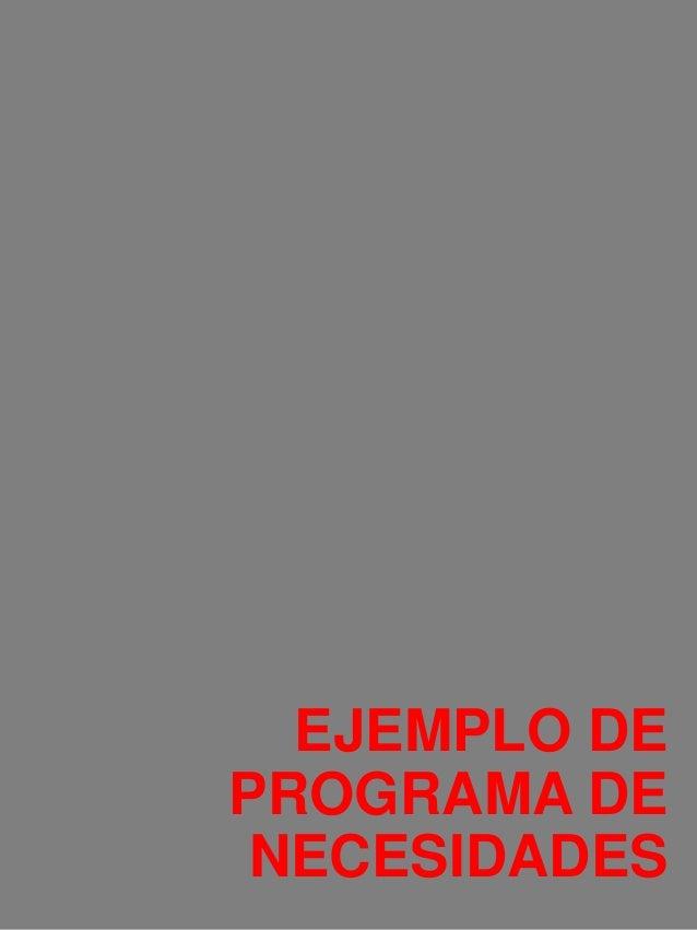 Ejemplo de programa de necesidades for Ejemplo de programa de necesidades arquitectura
