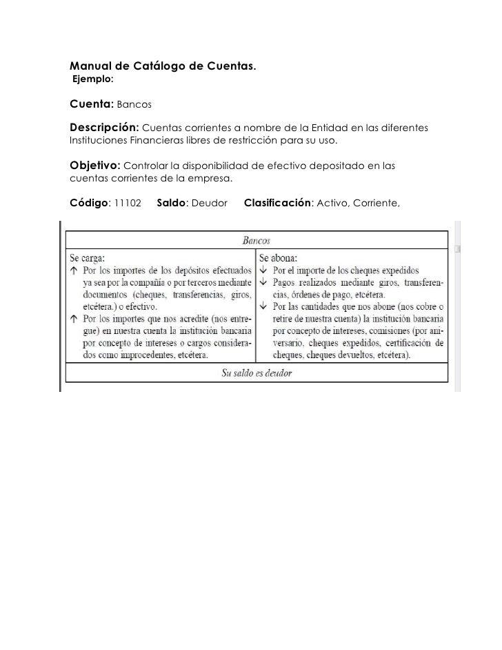Manual de Catálogo de Cuentas.<br /> Ejemplo:<br />Cuenta: Bancos<br />Descripción: Cuentas corrientes a nombre de la Enti...
