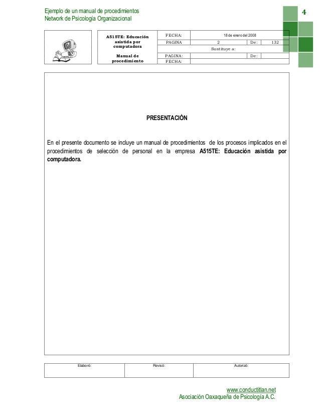 Ejemplo manual procedimientos for Ejemplo de manual de procedimientos de un restaurante