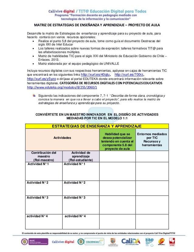 MATRIZ DE ESTRATEGIAS DE ENSEÑANZA Y APRENDIZAJE – PROYECTO DE AULA Desarrolle la matriz de Estrategias de enseñanza y apr...
