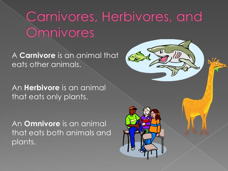 A Carnivore is an animal thateats other animals.An Herbivore is an animalthat eats only plants.An Omnivore is an animaltha...