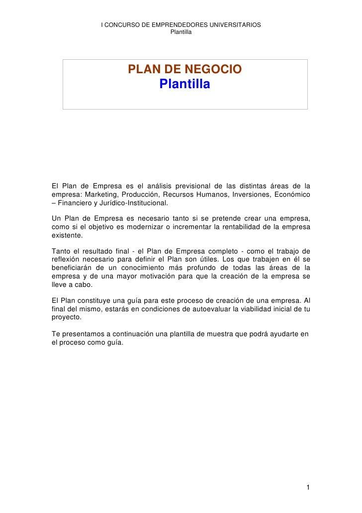 I CONCURSO DE EMPRENDEDORES UNIVERSITARIOS                                  Plantilla                             PLAN DE ...