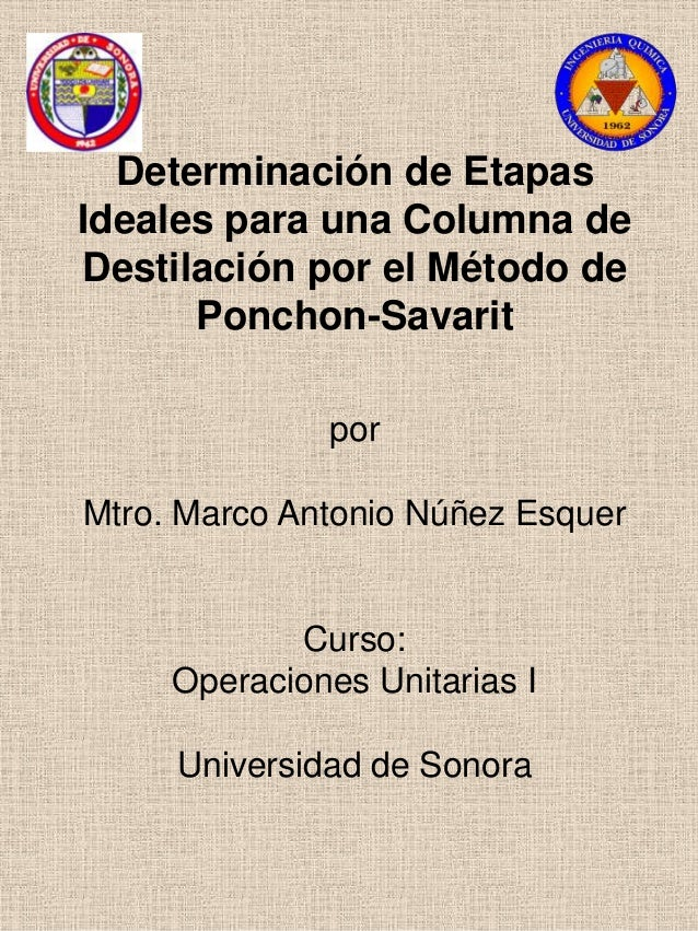 Determinación de EtapasIdeales para una Columna deDestilación por el Método de      Ponchon-Savarit              porMtro. ...