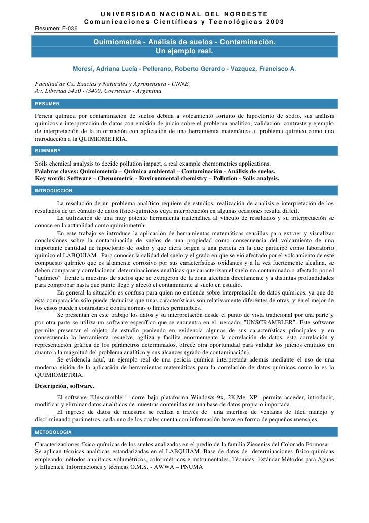 UNIVERSIDAD NACIONAL DEL NORDESTE                   Comunicaciones Científicas y Tecnológicas 2003Resumen: E-036          ...