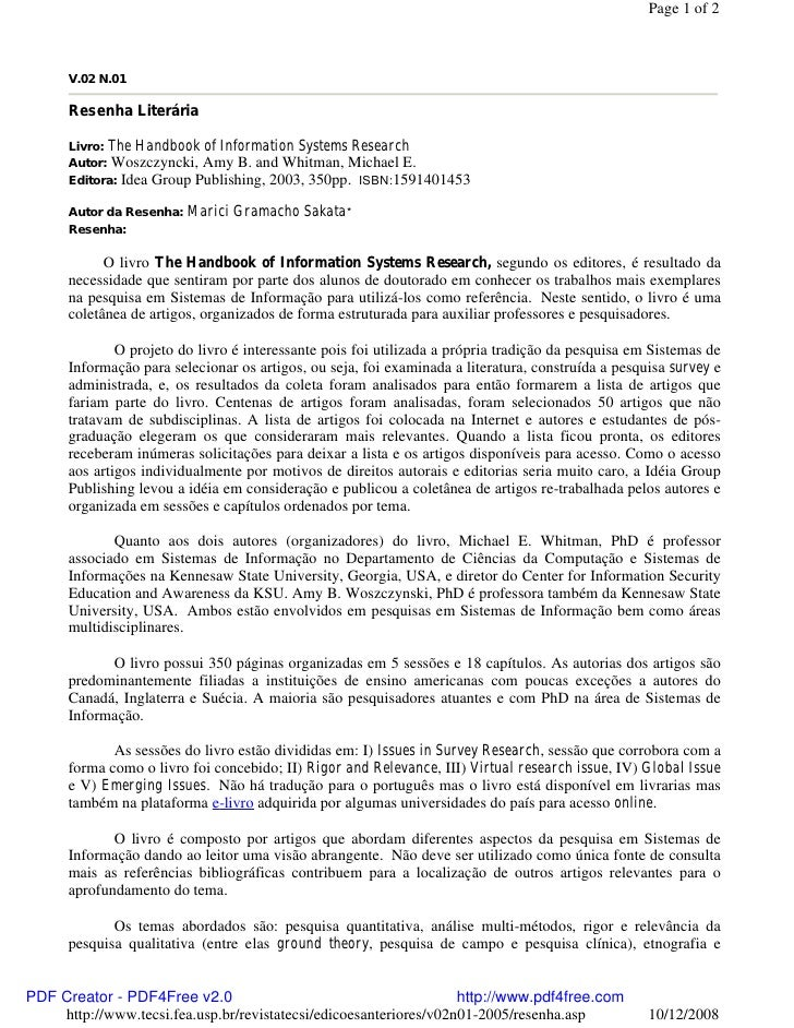 Page 1 of 2          V.02 N.01        Resenha Literária        Livro: The Handbook of Information Systems Research       A...