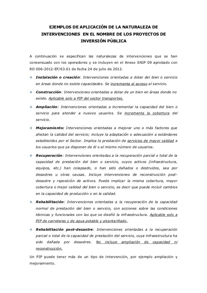 EJEMPLOS DE APLICACIÓN DE LA NATURALEZA DE       INTERVENCIONES EN EL NOMBRE DE LOS PROYECTOS DE                          ...
