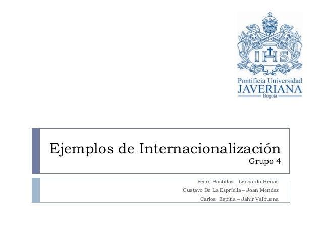 Ejemplos de Internacionalización Grupo 4 Pedro Bastidas – Leonardo Henao Gustavo De La Espriella – Joan Mendez Carlos Espi...