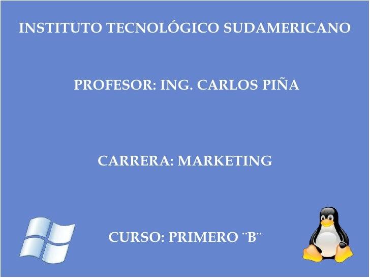 INSTITUTO TECNOLÓGICO SUDAMERICANO<br />PROFESOR: ING. CARLOS PIÑA<br /><br /><br /><br />CARRERA: MARKETING<br /><br...